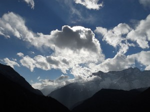 mountain clouds sky light