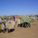 Displaced persons from Darfur violence find refuge in make-shift shelters