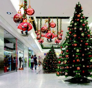 Christmas trees in mall