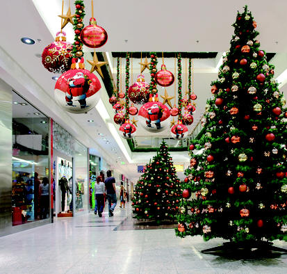Christmas trees in mall | Catholic Lane