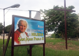 'Here the Church of St. John Paul II is being built'; ACN photo