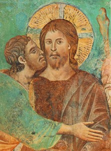 Judas kiss betraying Christ