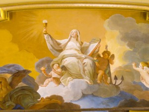 Mary Holding the Eucharist in Heaven