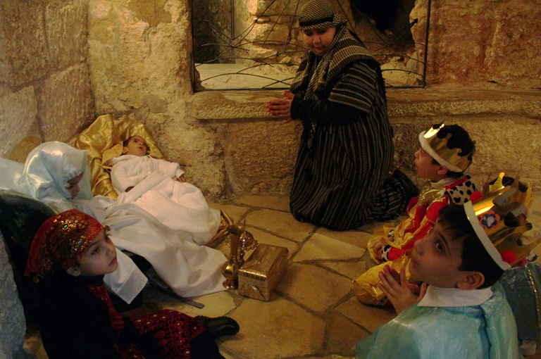 The Nativity play in Bethelehem's Church of the Nativity; ACN photo