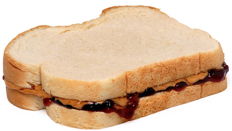 PB&J sandwich photo by Evan-Amos Public Domain - Wikipedia Commons