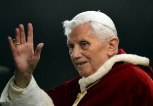 Pope Benedict waving