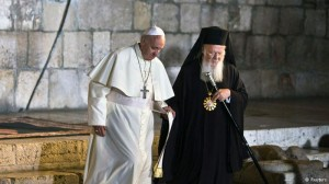 Pope Francis & Patriarch Bartholomew at the Wailing Wall, Jerusalem, May 2014