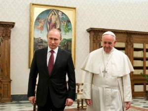 Putin and Pope Francis, by Kate O'Hare, 1 dec 2913