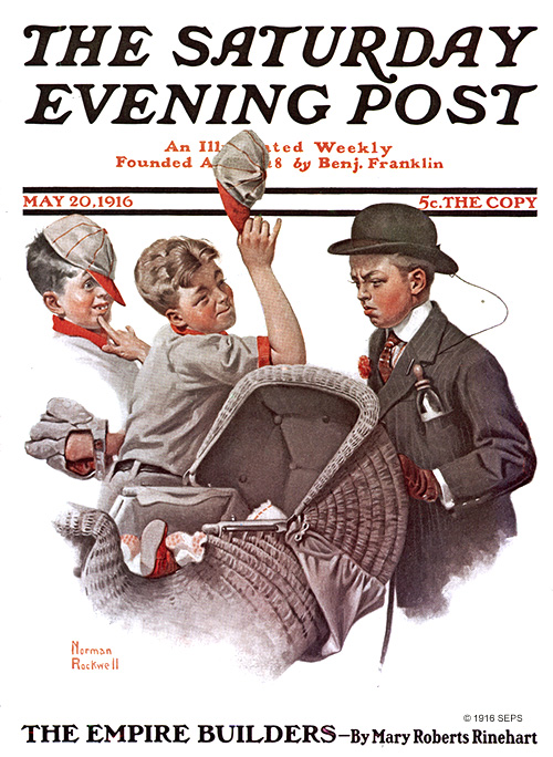 "Norman Rockwell's ""Boy With Baby Carriage"" (May 10, 1916) Public domain."