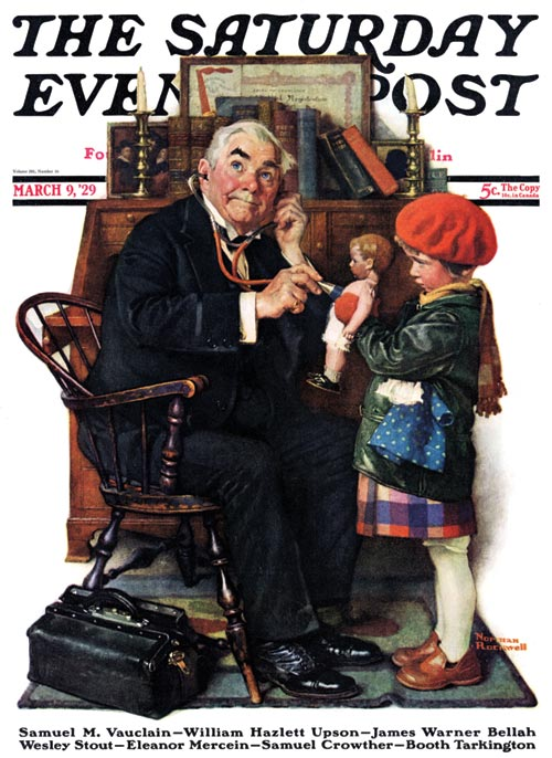 "Norman Rockwell's ""Doctor And Doll"" (March 9, 1929) © SEPS"