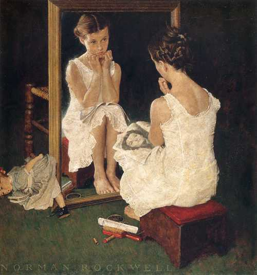 "Norman Rockwell's ""Girl At Mirror"" (March 6, 1954) © SEPS"