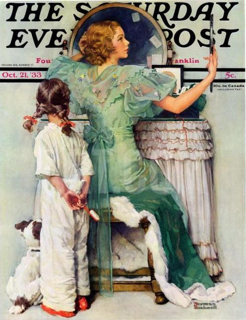 "Norman Rockwell's ""Going Out"" (October 21, 1933) © SEPS"