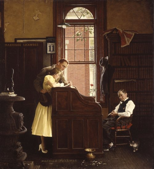 "Norman Rockwell's ""The Marriage License"" (June 11, 1955) © SEPS"