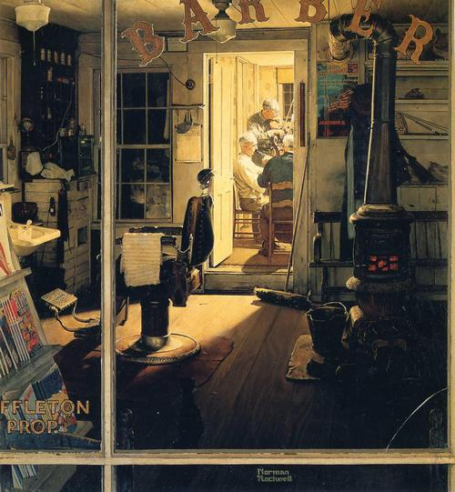 "Norman Rockwell's ""Shuffleton's Barbershop"" (April 29, 1950) © SEPS"