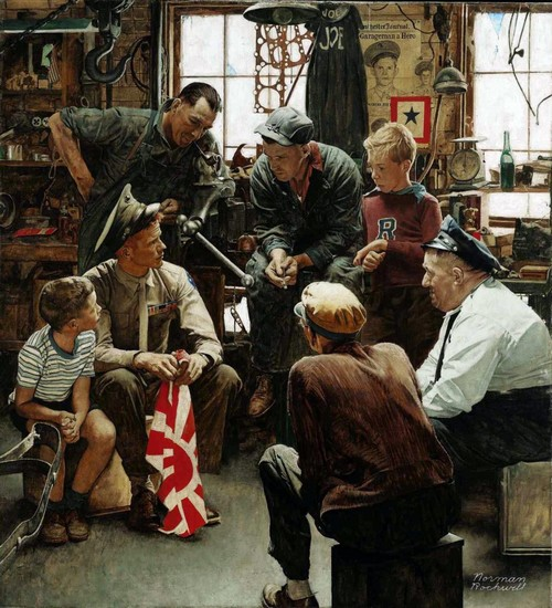 "Norman Rockwell's ""The Homecoming Marine"" (October 13, 1945) © SEPS"