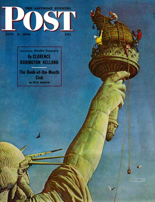 "Norman Rockwell's ""Working On The Statue Of Liberty"" (July 6, 1946) © SEPS"