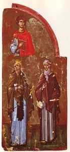 St. George, St. Damecene,and St. Ephrem (right)