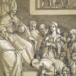 Emperor Henry IV at Pope Gregory's feet in repentance, AD 1077