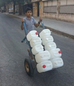 Scrambling for water in Aleppo, Syria