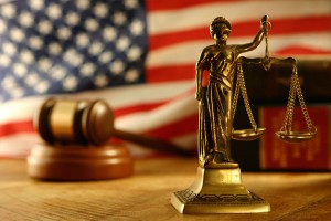 American flag gavel scales of justice