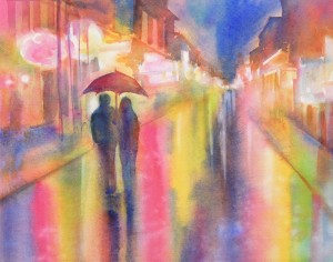 couple in rain under umbrella