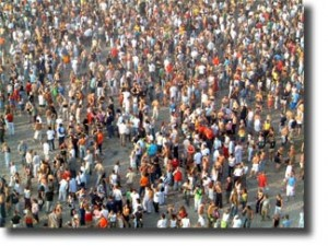 dense population crowd