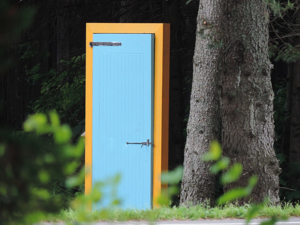 door in forest woods