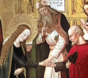 The Marriage of Mary and Joseph (Alte Pinakothek, Monaco, XV det.)