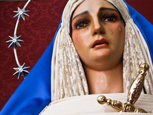 mary crying statue crown-of-stars