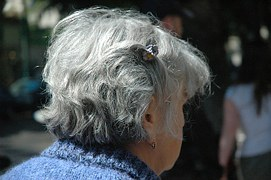 old woman grey hair