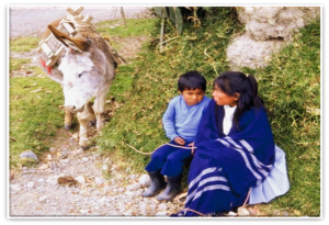 peruvian girl and child