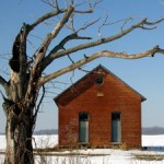tree old school house schoolhouse snow red