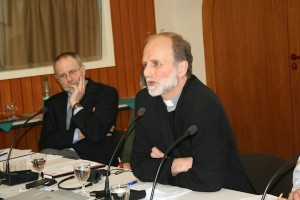 Fr. Borys Gudziak (right), rector of the Ukrainian Catholic University in Lviv, Father Marko Tomashek (left) Director of Projects – ACN International.